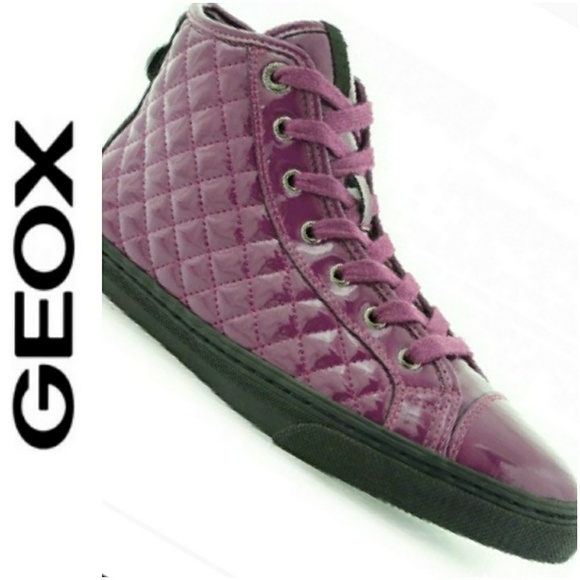 GEOX SNEAKERS PATENT LEATHER DIAMOND PATTERN NEW